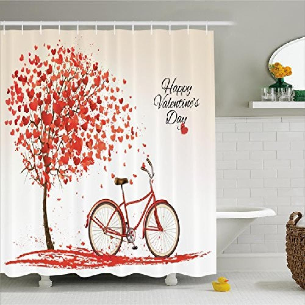 Valentines Day Shower Curtain Set For Her Romantic Fabric Bathroom