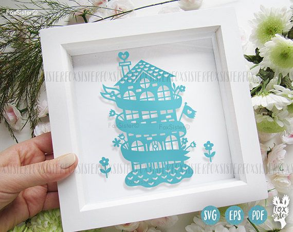 Printable Pdf And Svg Family New Home Papercut Template Cut File