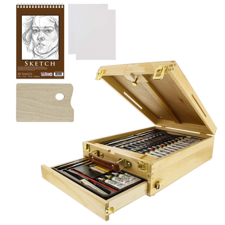 US Art Supply 62Piece Wood Box Easel Painting Set Box