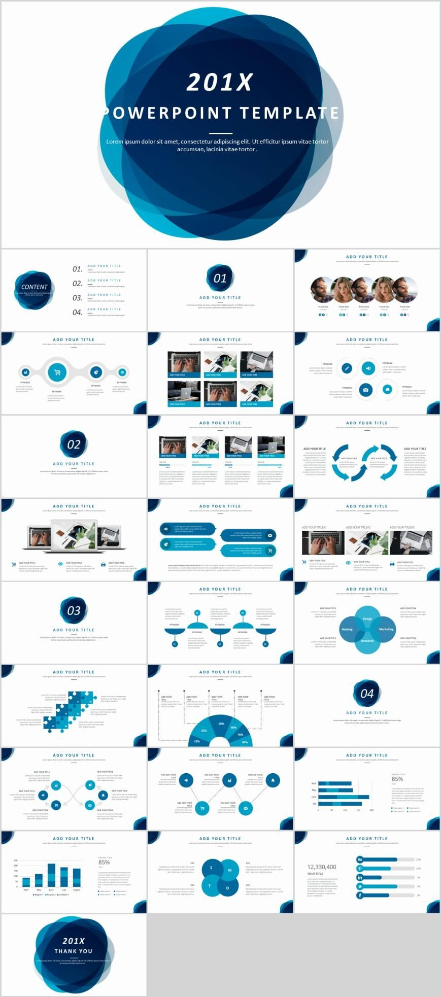 Blue business year report PowerPoint template