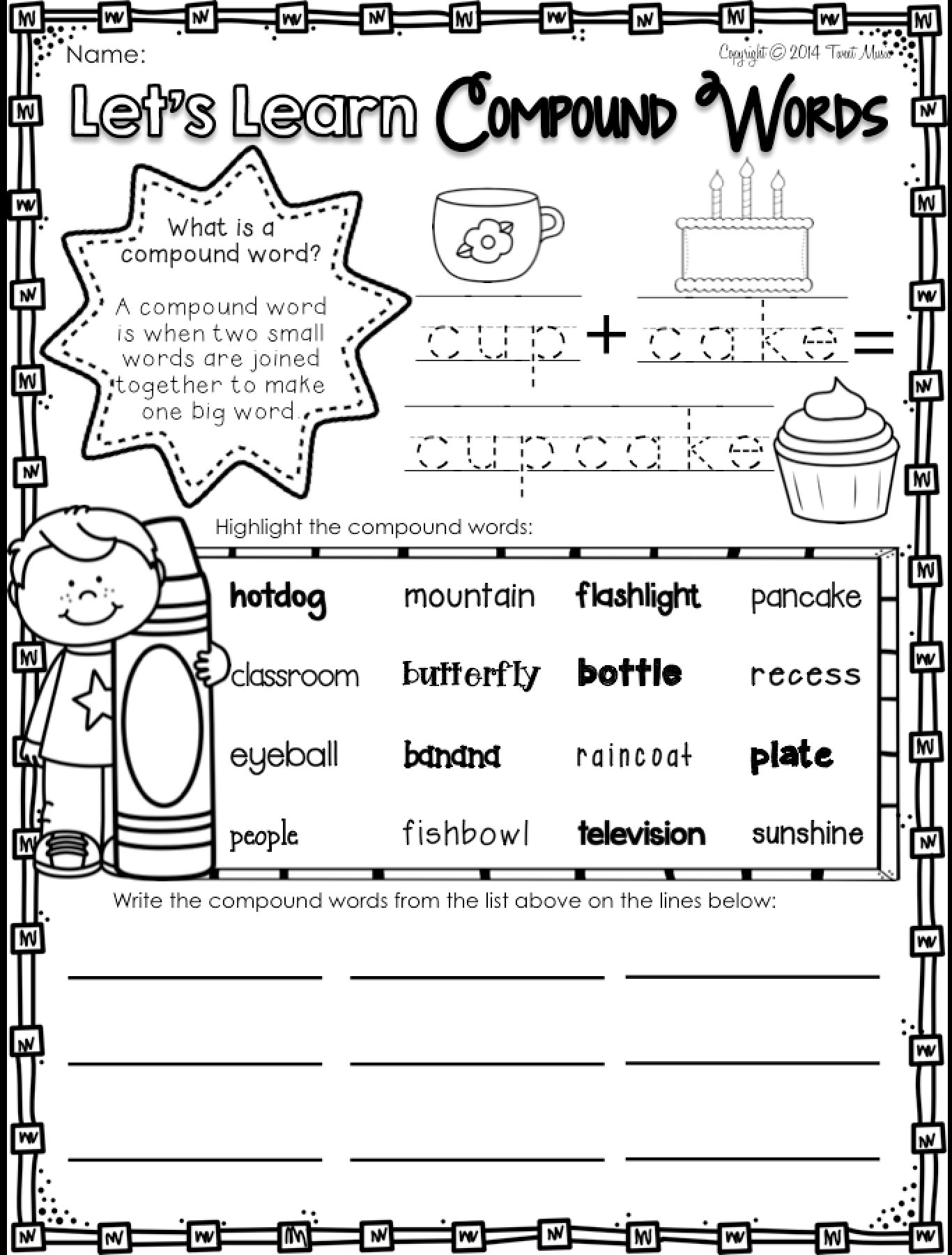Teach Your Students All About Compound Words With This No Prep Printables Pack For Your Grad Compound Words Compound Words Worksheets Compound Words Activities [ 1800 x 1366 Pixel ]