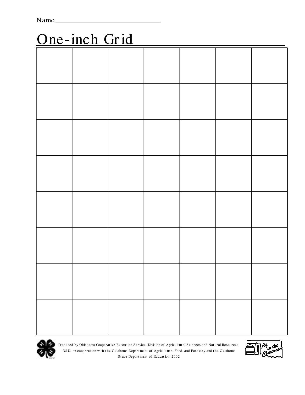 1 Inch Printable Grid Graph Paper