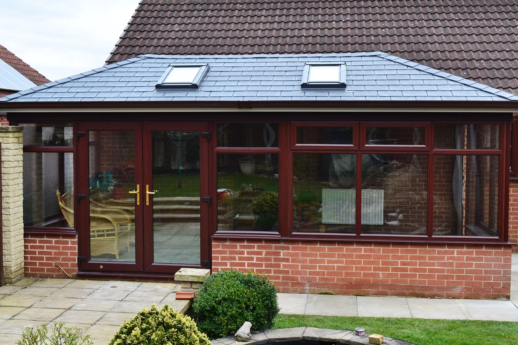Large Supalite Tiled Conservatory Roof With Two Dekea Roof Vents Similar To Velux Windows With Luxurio Conservatory Roof Tiled Conservatory Roof Conservatory