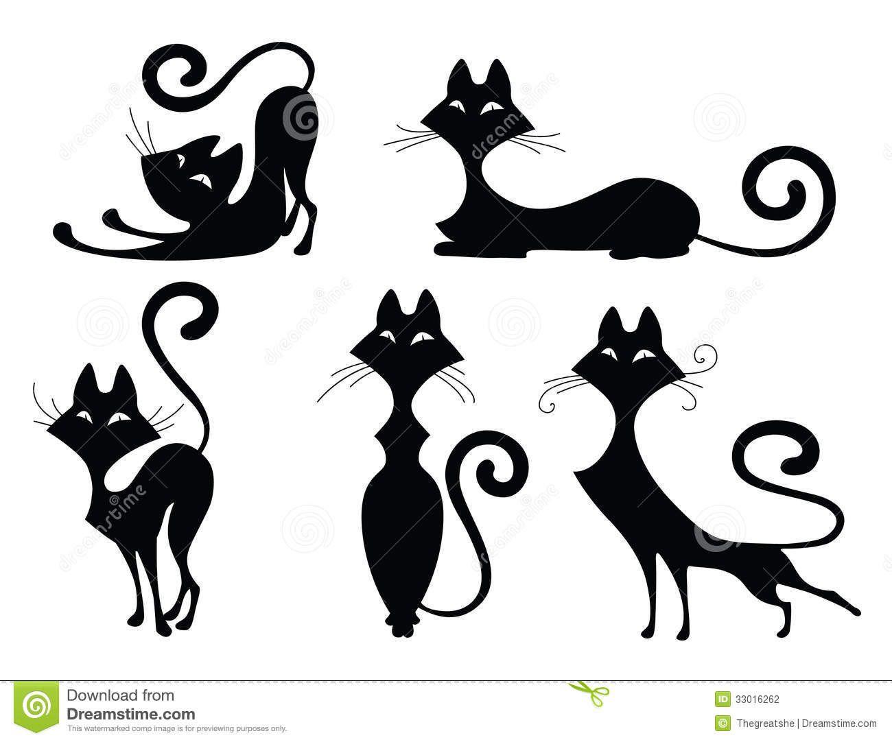 Set Of Cat Silhouettes Illustration About Abstract Kitten Halloween Tattoo Animal Cartoon Des Cat Silhouette Tattoos Black Cat Silhouette Cat Silhouette