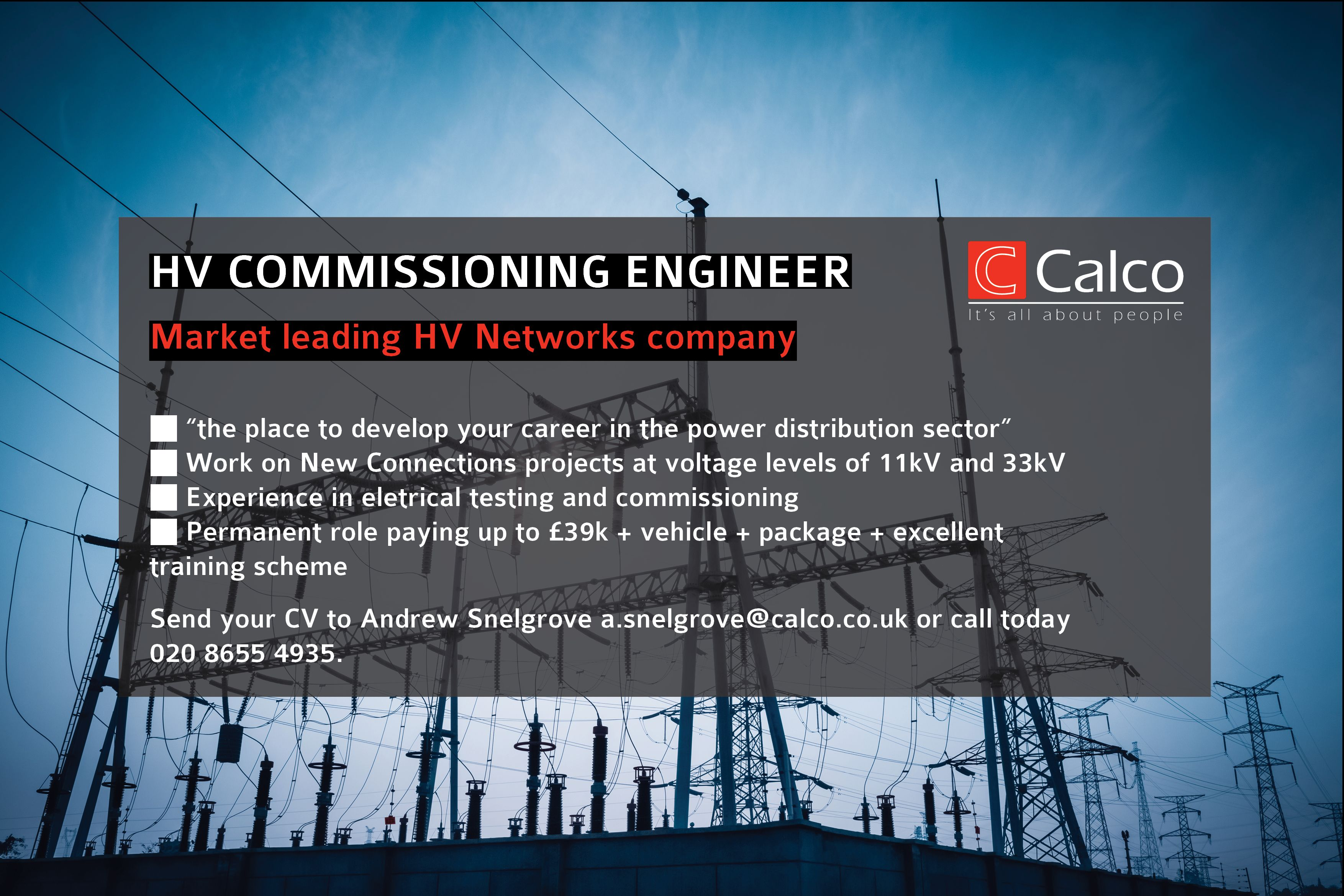 HV Commissioning Engineer CalcoRecruit Networking