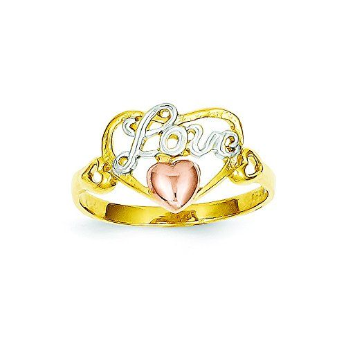 14k Yellow Rose Gold WRhodium Love Heart Ring Size 6 Read more