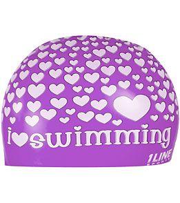 1Line Sports Love Swimming Silicone Cap