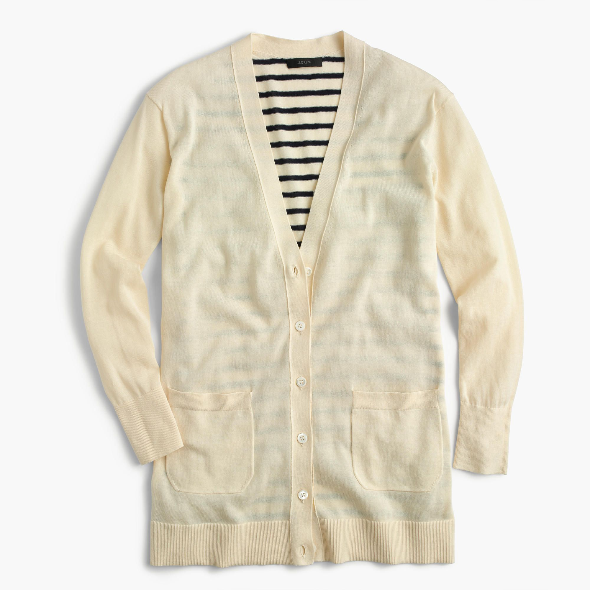 J.Crew Womens Long Cardigan Sweater With Striped Back (Size S ...