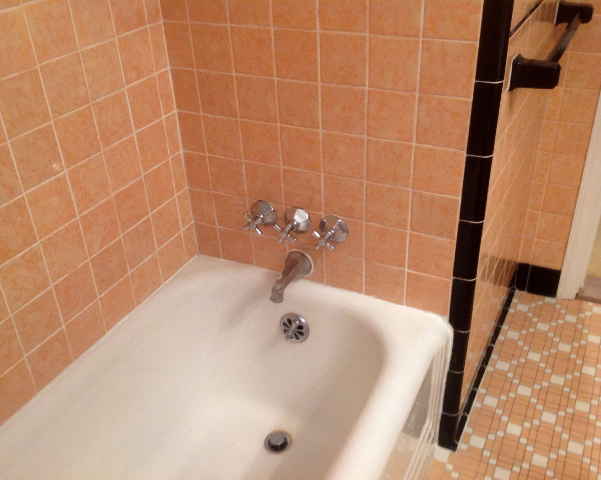 Peach bathroom ideas home design ideas and pictures for Peach tile bathroom ideas