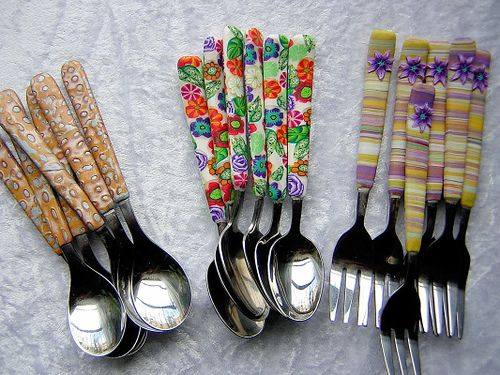 polymer clay covered cutlery | par Tania P.