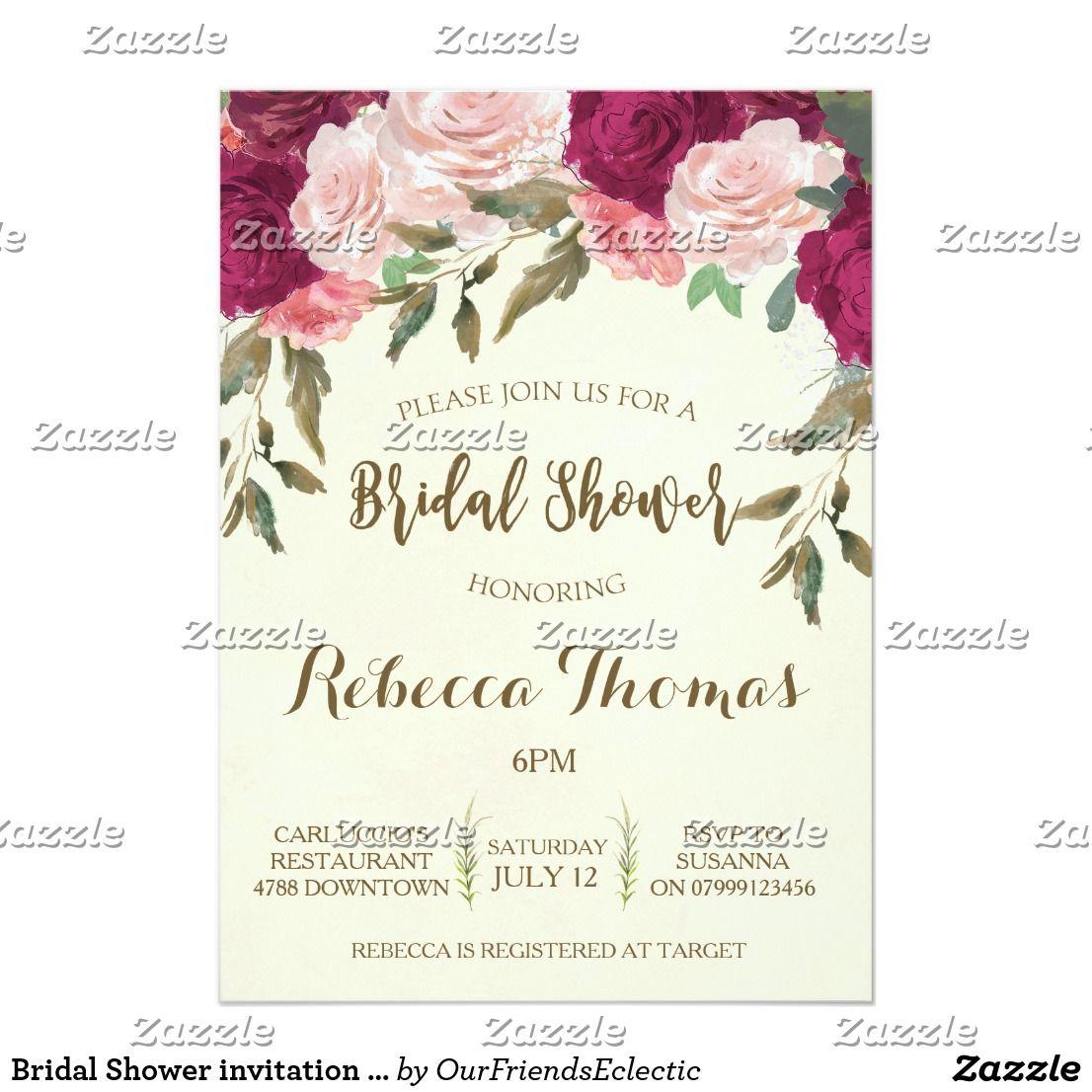 Bridal Shower invitation modern floral burgundy Zazzle