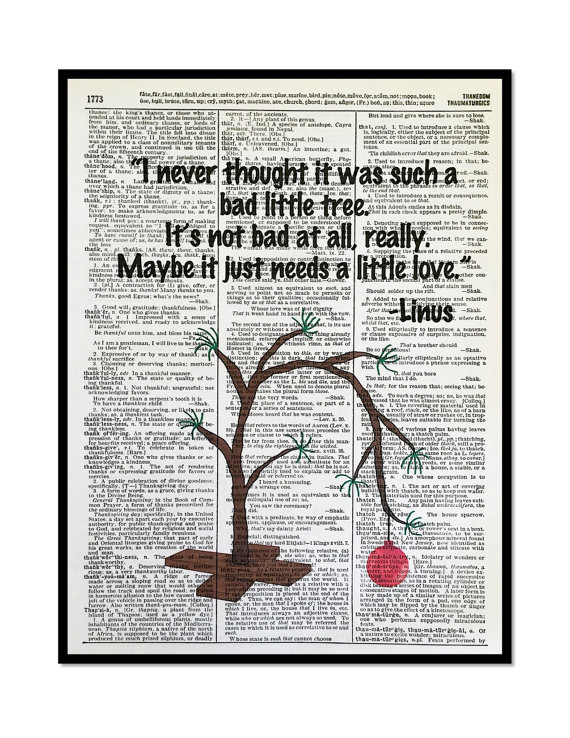 Charlie Brown Christmas Tree Linus Quote 8x10 Vintage Dictionary Page Art