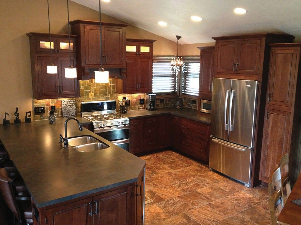 Beaded Glass Kitchen Cabinets Minnesota Peninsula Kitchen Has Cherry Cabinets In A