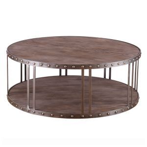Oak Top And Base Metal Studded Coffee Table In Brown Table Ideas - Studded coffee table