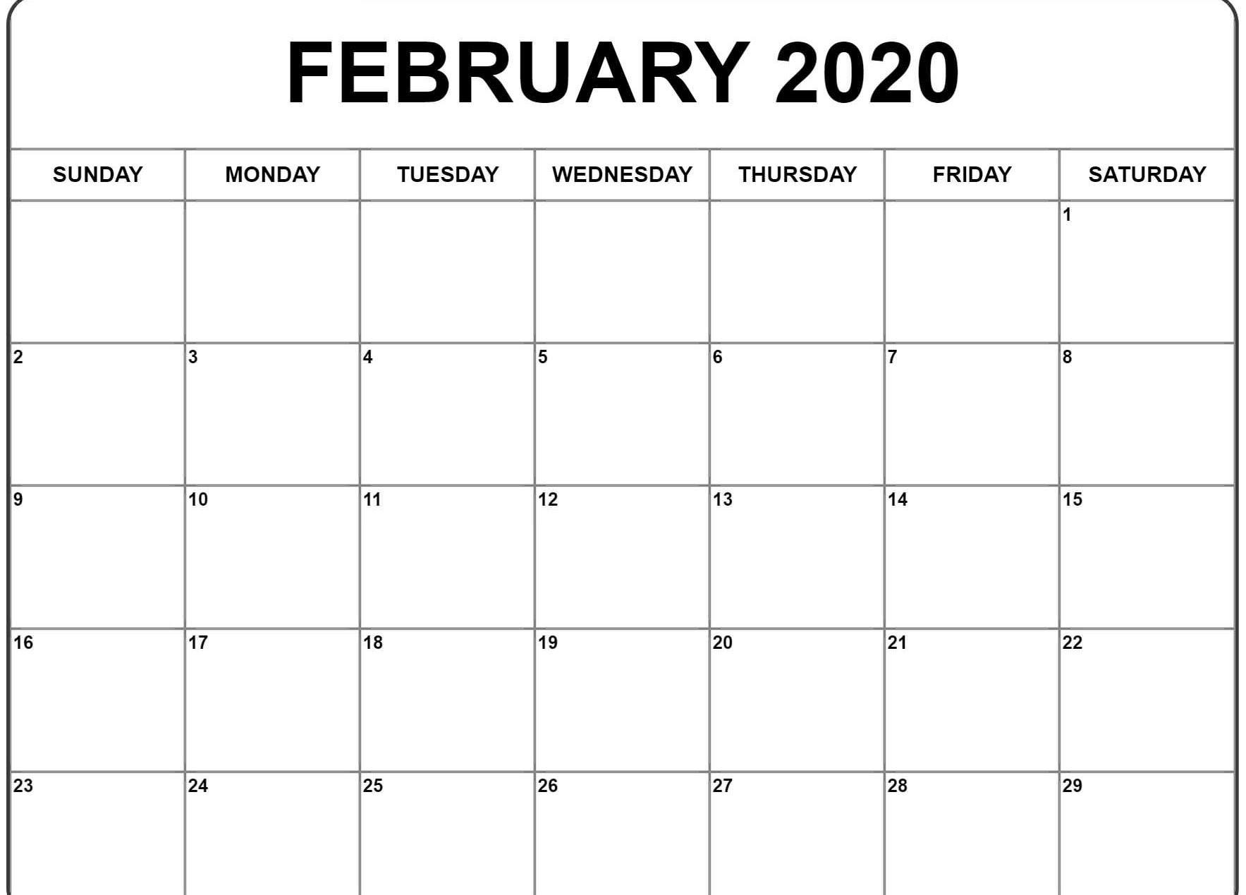 Free 2020 Editable February Calendar Blank Template Calendar