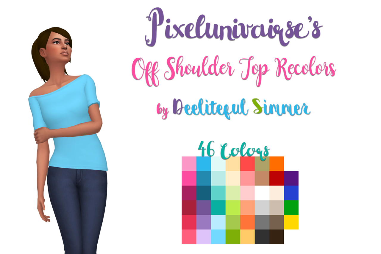 sims 4 mm cc maxis match off shoulder top Deeliteful Simmer