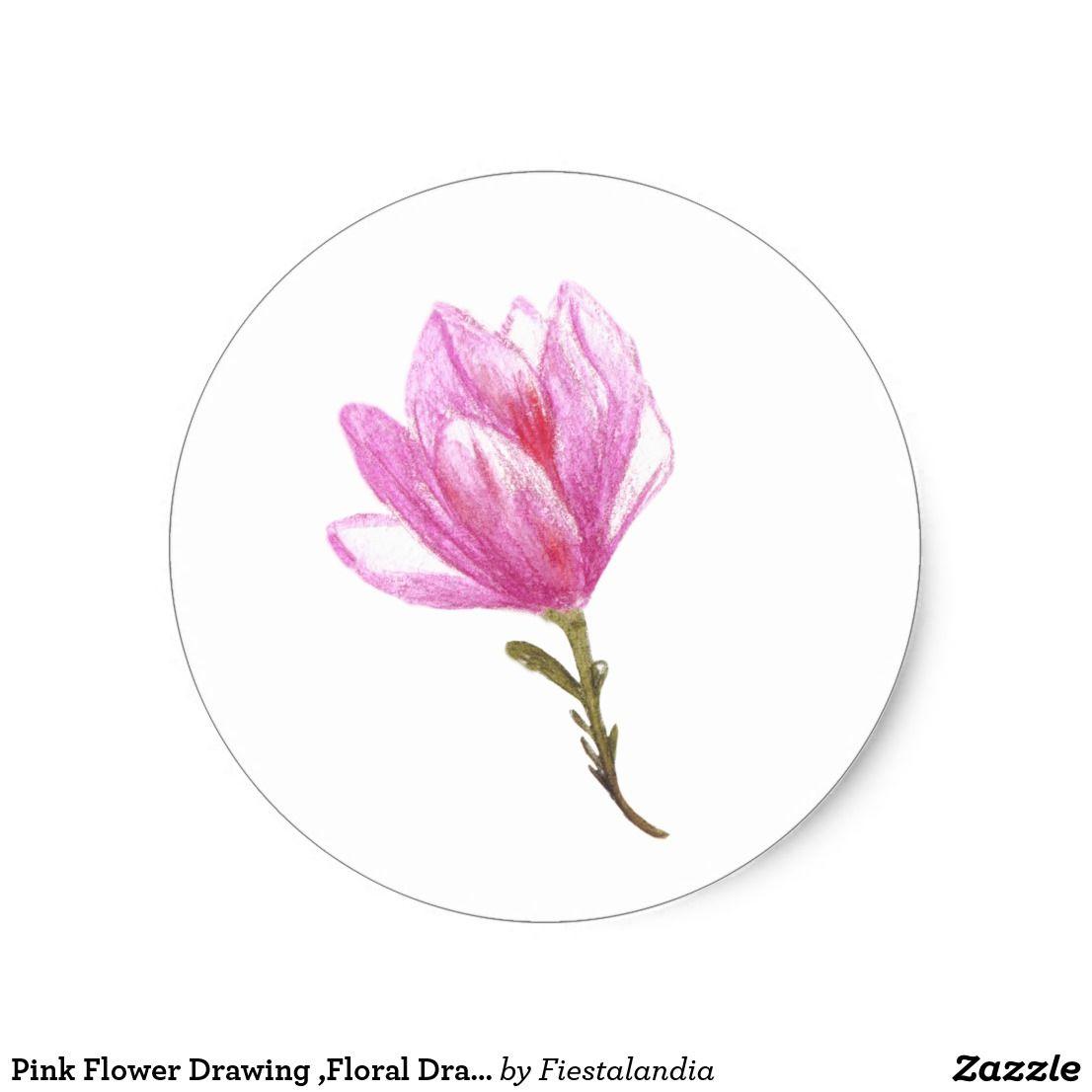 Pink flower drawing floral drawing sticker floral drawing flower pink flower drawing floral drawing sticker mightylinksfo
