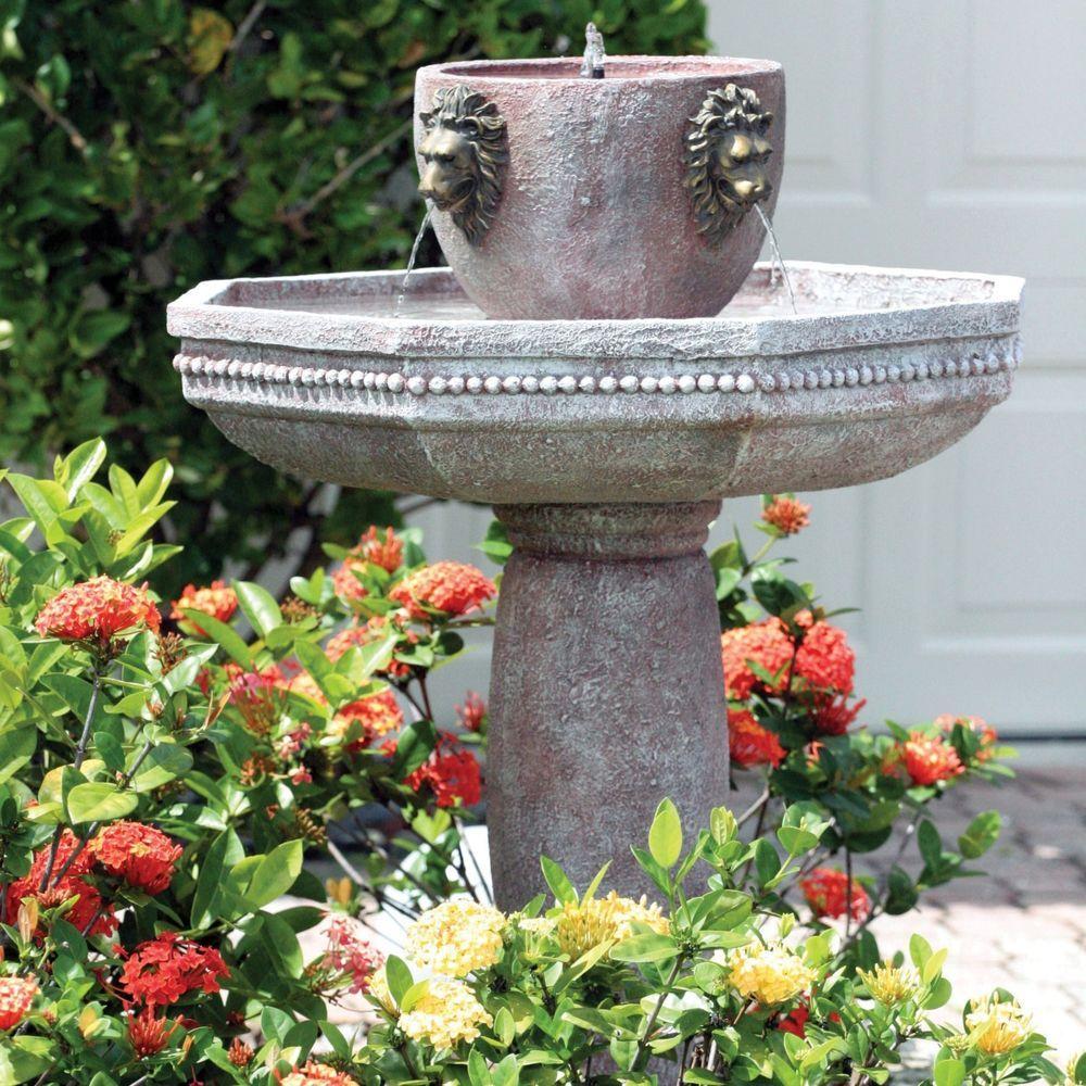 solar lion head estate garden patio deck water feature fountain