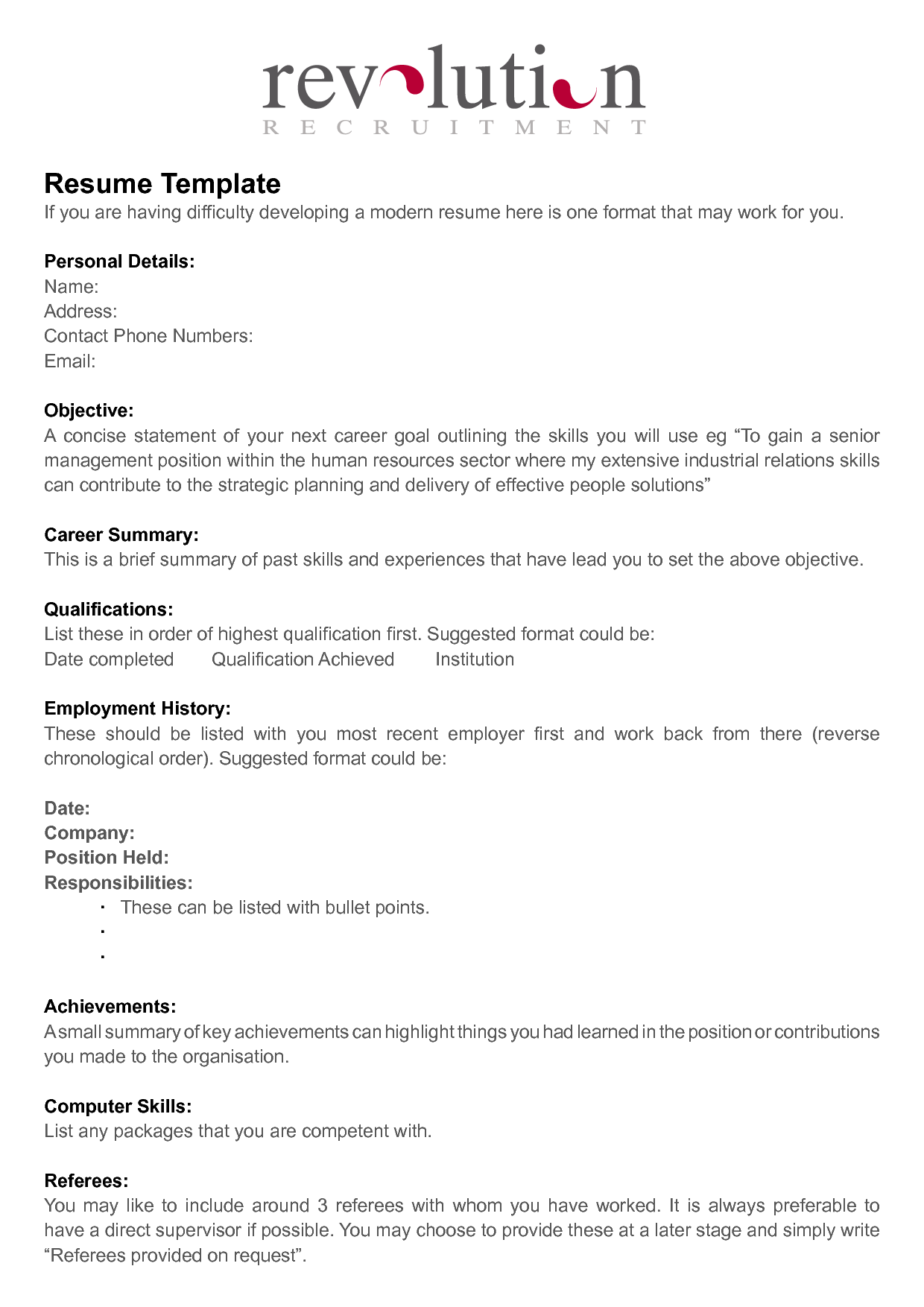 Free Resume Templates  Document Sample  Resumes