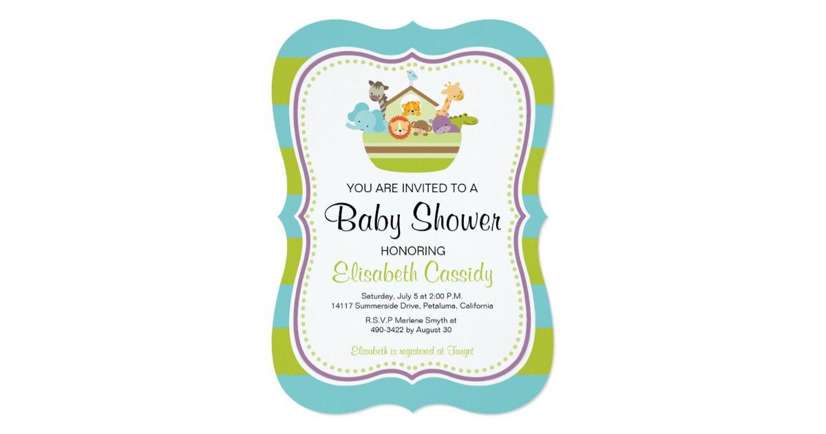 Blue Green, Bracket Noah\'s Ark Baby Shower Invite. Card ...
