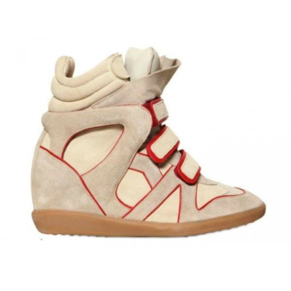 Red Beige Isabel Marant Sneakers Wila Leather and Suede Wedge