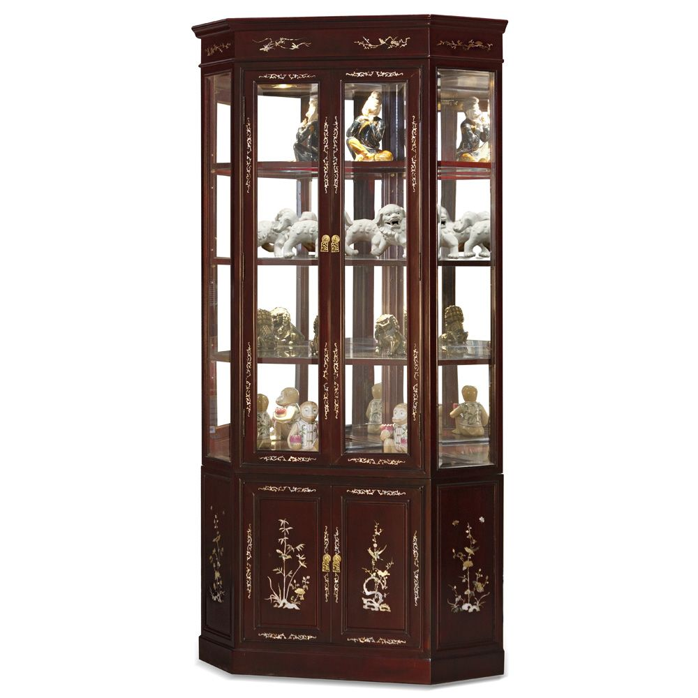Dark Cherry Rosewood Corner Display Cabinet With Flower