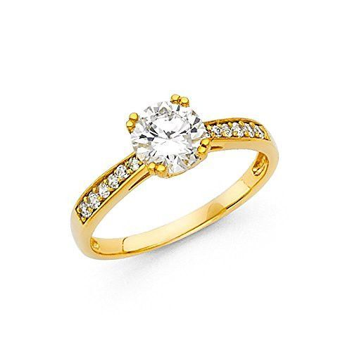 New 14K Yellow Gold 1.0ct. Round Center & Side Stone Engagement Ring 2.6mm