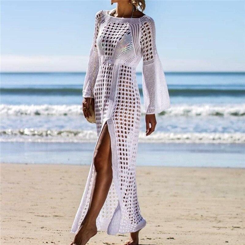 Sexy Transparent Cover Up Women Beach Crochet Bikini Covers-Up Lace Beachwear White Beach Dress sarong pareo Beach Coat