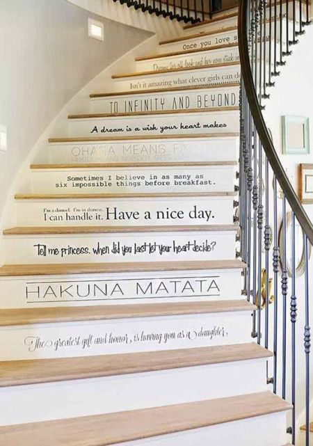 decoración #escaleras con citas #deco #stairs Escaleras
