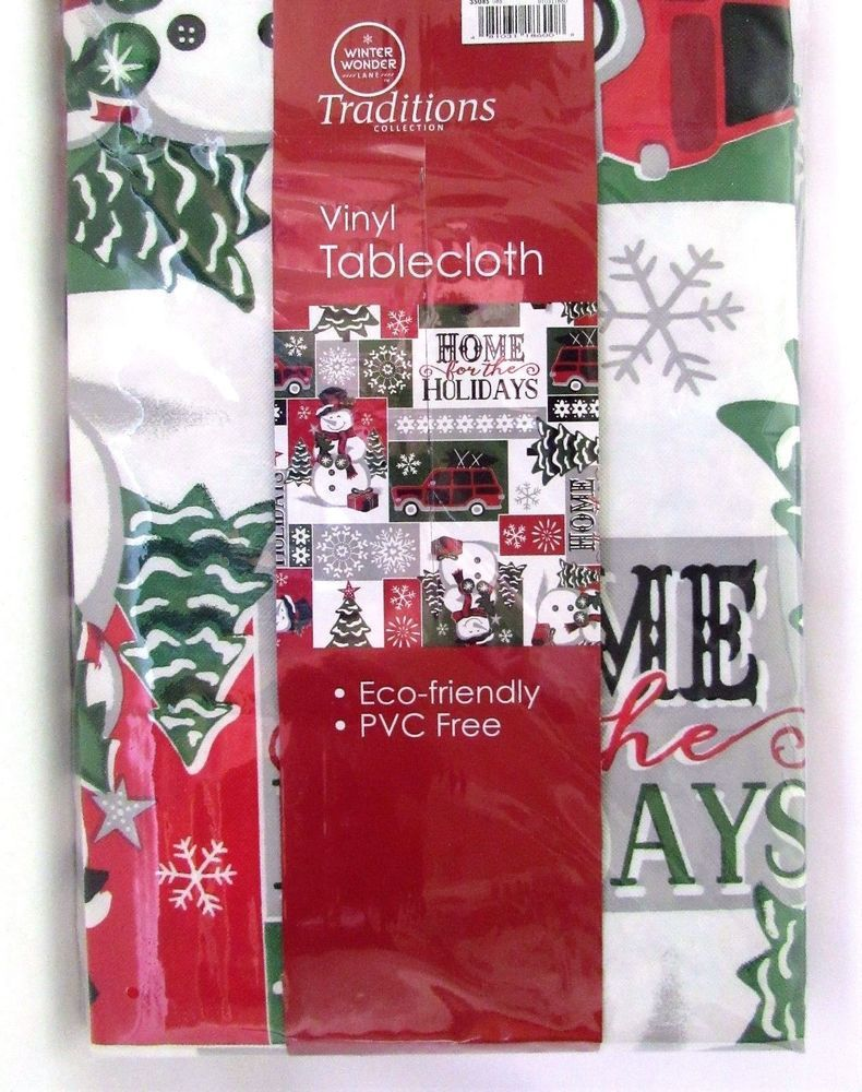 Christmas Tablecloth Home For Holiday Vinyl With Polyester Backing 60 Inch Round Christmas Table Cloth Table Cloth Holiday