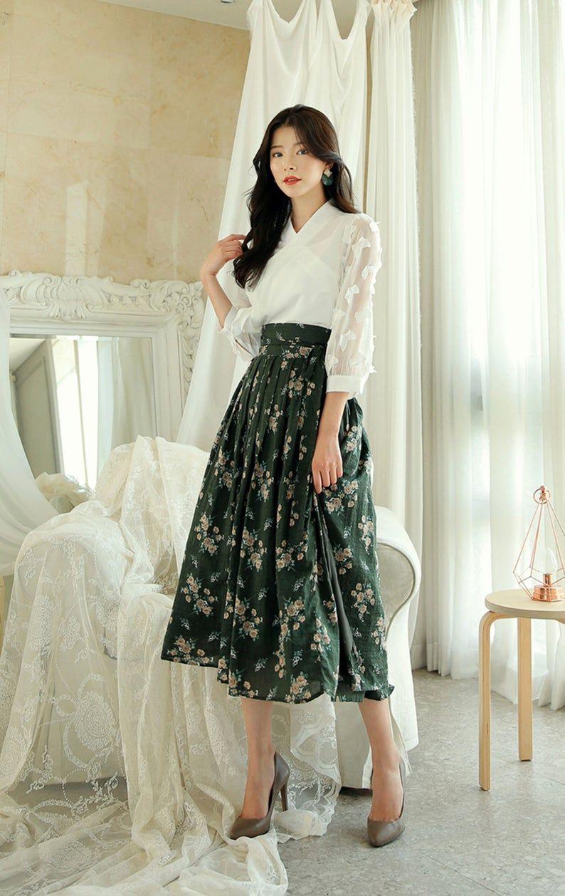 Moderno Hanbok Falda Verde Flor Mujer Mujer Corea Hanbok Etsy Korean Fashion Dress Korean Fashion Women Casual Dresses