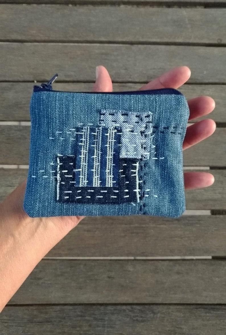 Sashiko Boro Pouch, Denim Coin Purse, Patch Jeans Wallet, Upcycled Zipper Purse, Sustainable Eco friendly Gift – upcycling