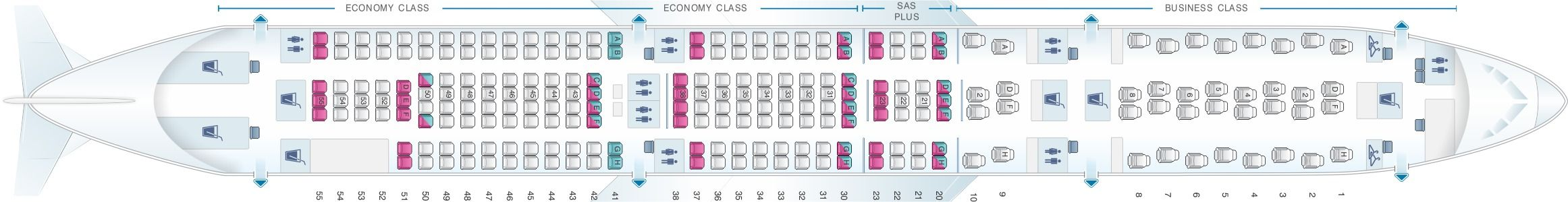 Seat Map And Seating Chart Airbus A340 300 Scandinavian Airlines Sas Asiana Airlines Malaysia Airlines Airlines