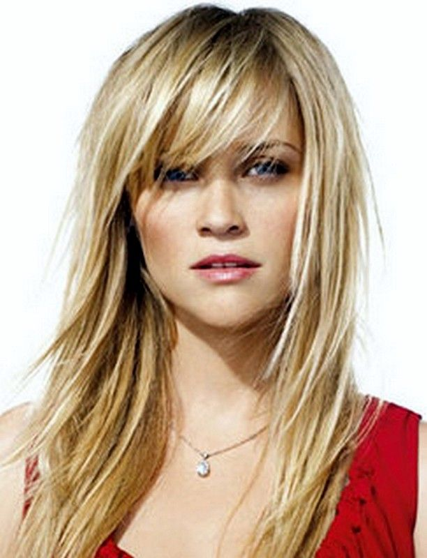 Wispy Fringe Bangs Haircut Round Face Layers Hairstyles 2015
