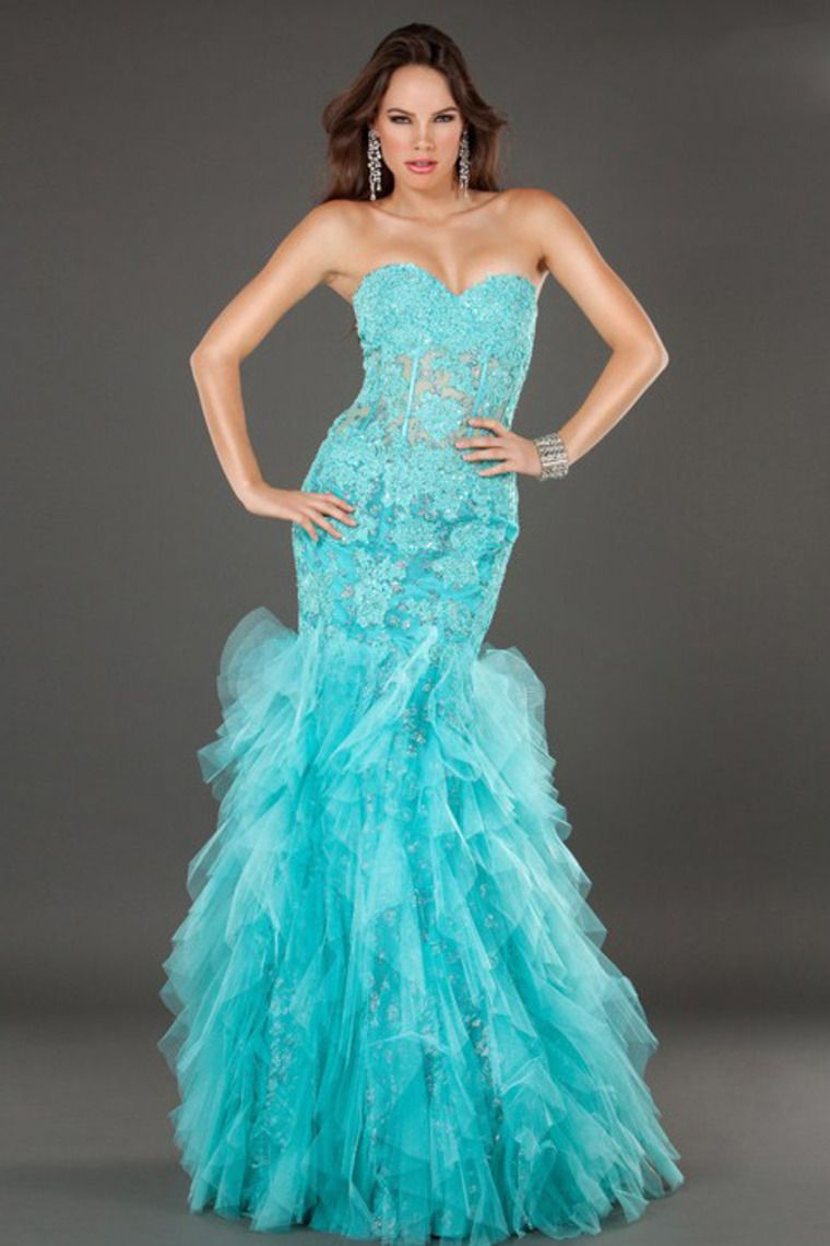 Sexy&Lovely 2014 Mermaid Sweetheart Prom Dress Blue With Allique ...