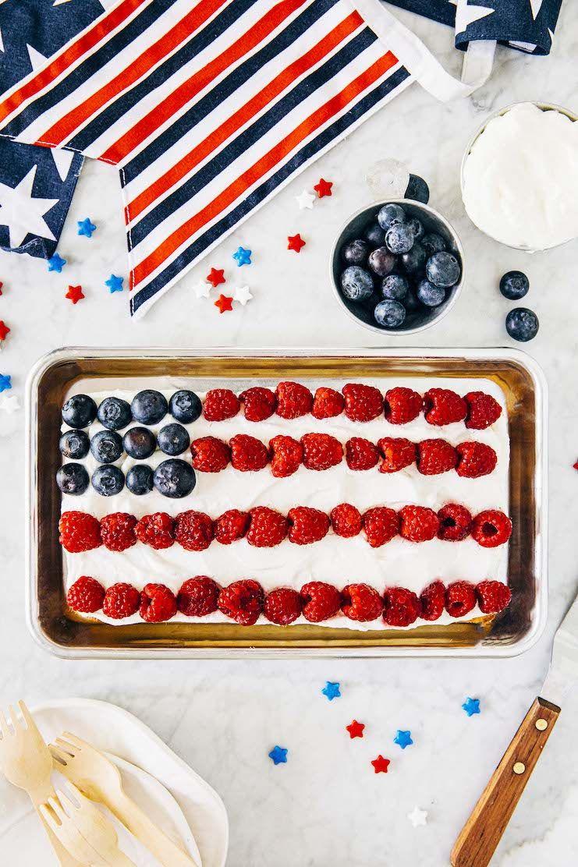 Mini American Flag Cake Hummingbird High In 2020 American Flag Cake Yellow Sheet Cake Recipe American Flag Cake Recipe