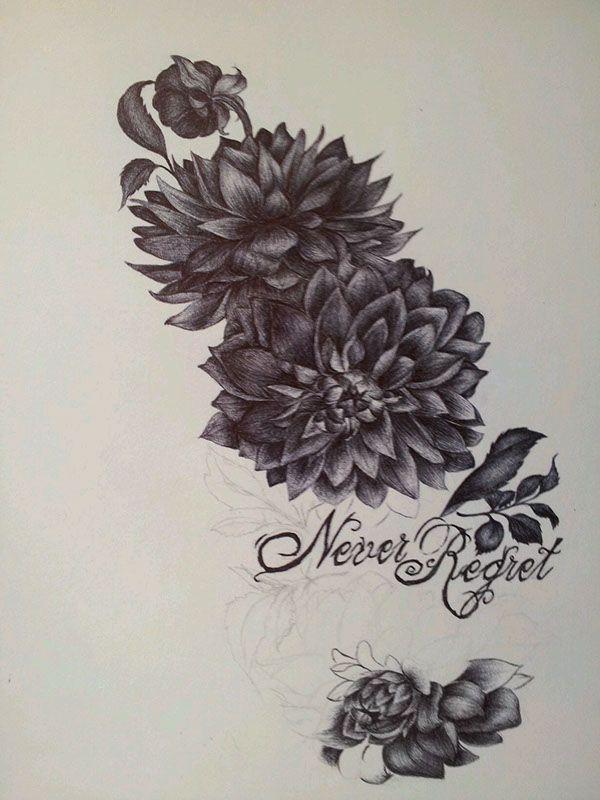 Black Ink Dahlia Flowers Tattoo Design Dahlia Tattoo Tattoos Dahlia Flower Tattoos