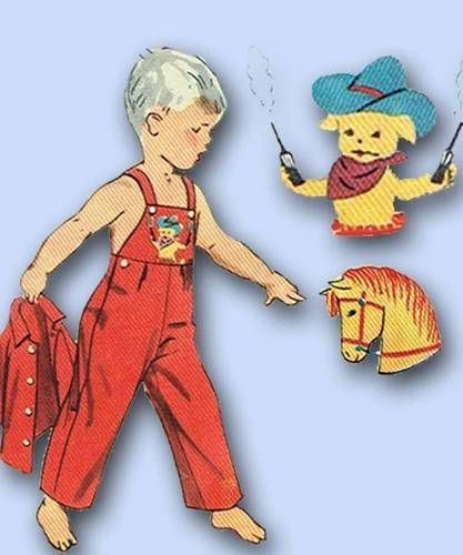 1950s Cute Toddler's Overalls Sewing Pattern w Puppy Cowboy Transfer Sz 4