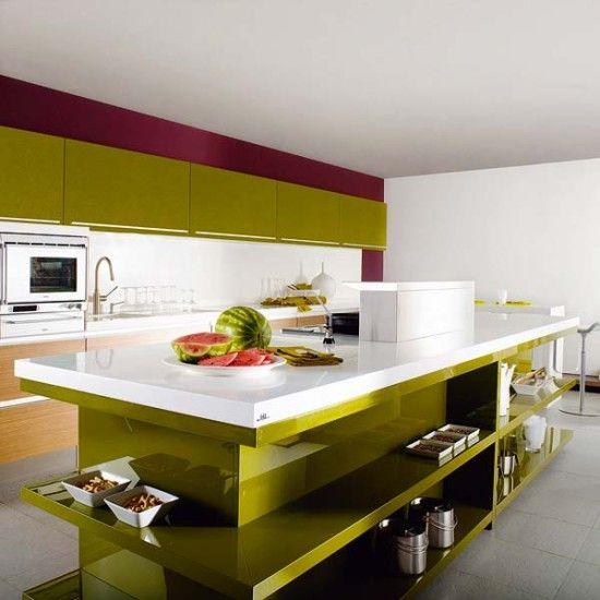 Cocinas Modernas Con Detalles En Color Verde Decoracion De