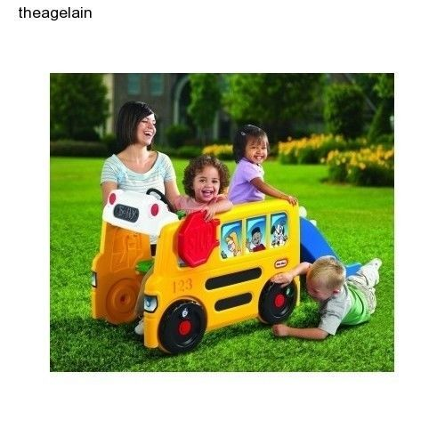 Little Tikes Activity Toddler School Bus Gym Slide Kids
