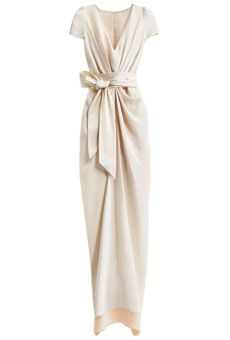 Brides: How to Find the Perfect Wedding Dress for Your Body Type   Wedding Dresses   Brides.com  ---  Wedding Dresses for Hourglass Body Types: BHLDN    This softly draped, retro-inspired dress flatters your curves in all the right places. The feminine sash is the perfect waist-cincher.    Crepe-de-chine column dress with charmeuse sash, style 21115951, BHLDN