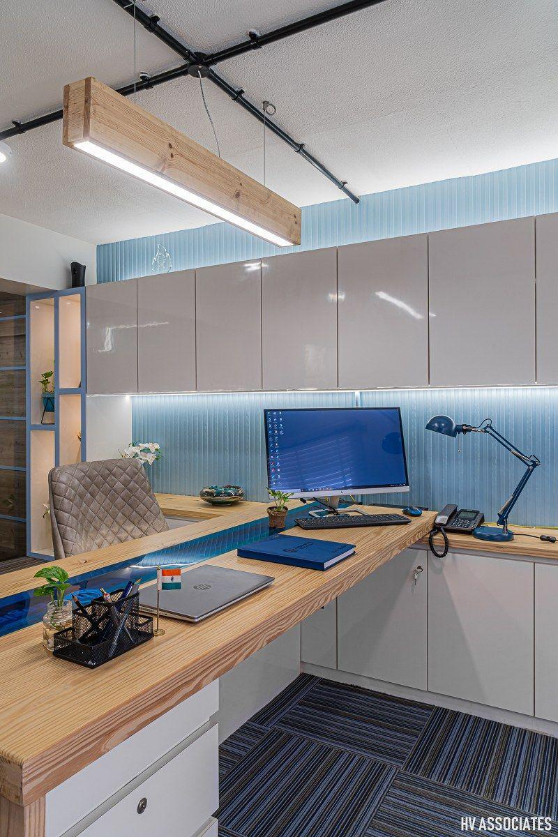Mood Tinted Blue Office Interior Office interiors, Blue