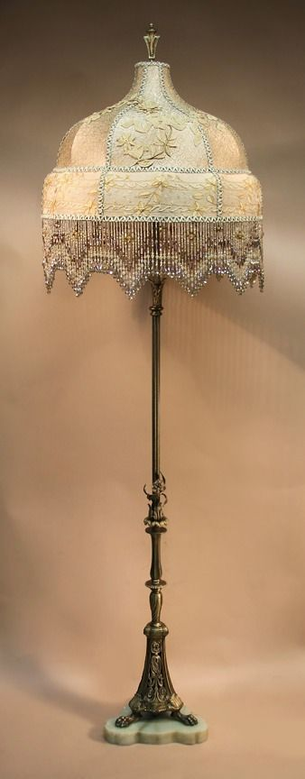 Antique Floor Lamp With One Of A Kind Victorian Style Lamp Shade