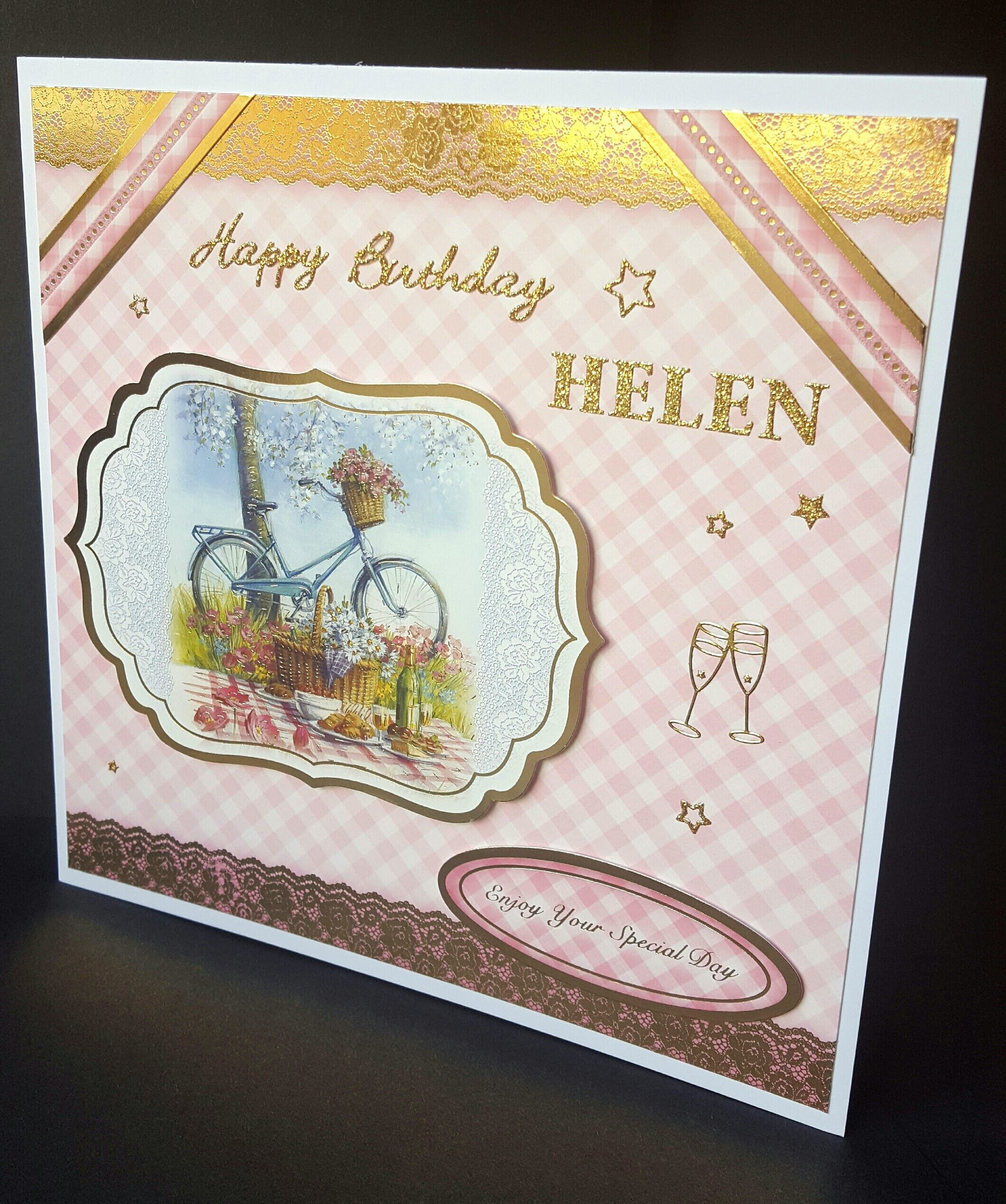 Bike And Picnic Birthday Card Personalised With Name Front