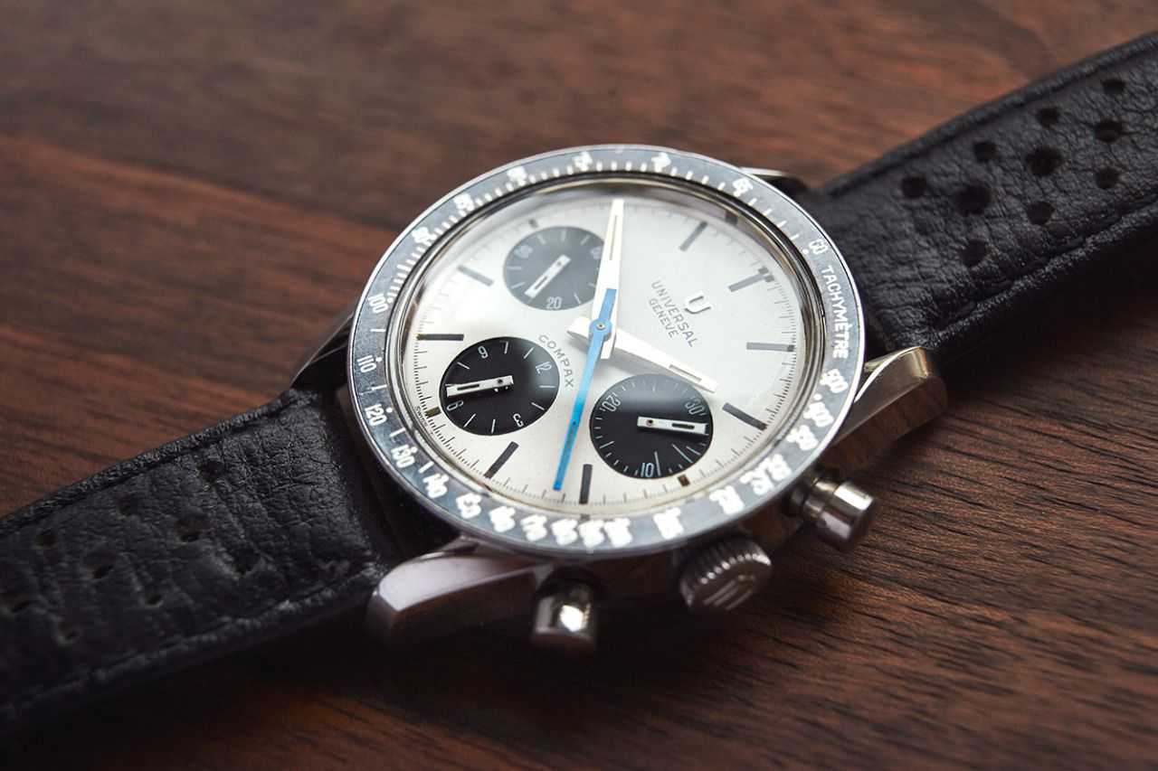 "For sale is an outstandingly beautiful and rare Universal Geneve Compax 885103/02, so called Nina Rindt. This is the earlier, and in most collectors eyes, more beautiful version of the ""panda dial"" Compax with the applied U-logo. The case is in..."