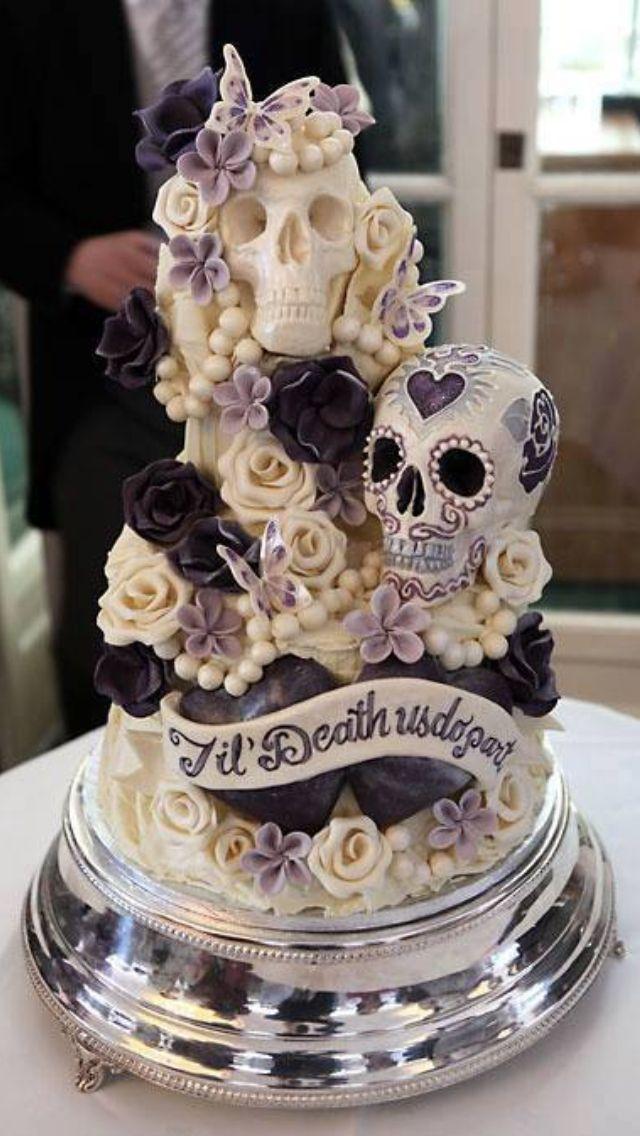 Til Do Us Part Skull Wedding Cake Idea