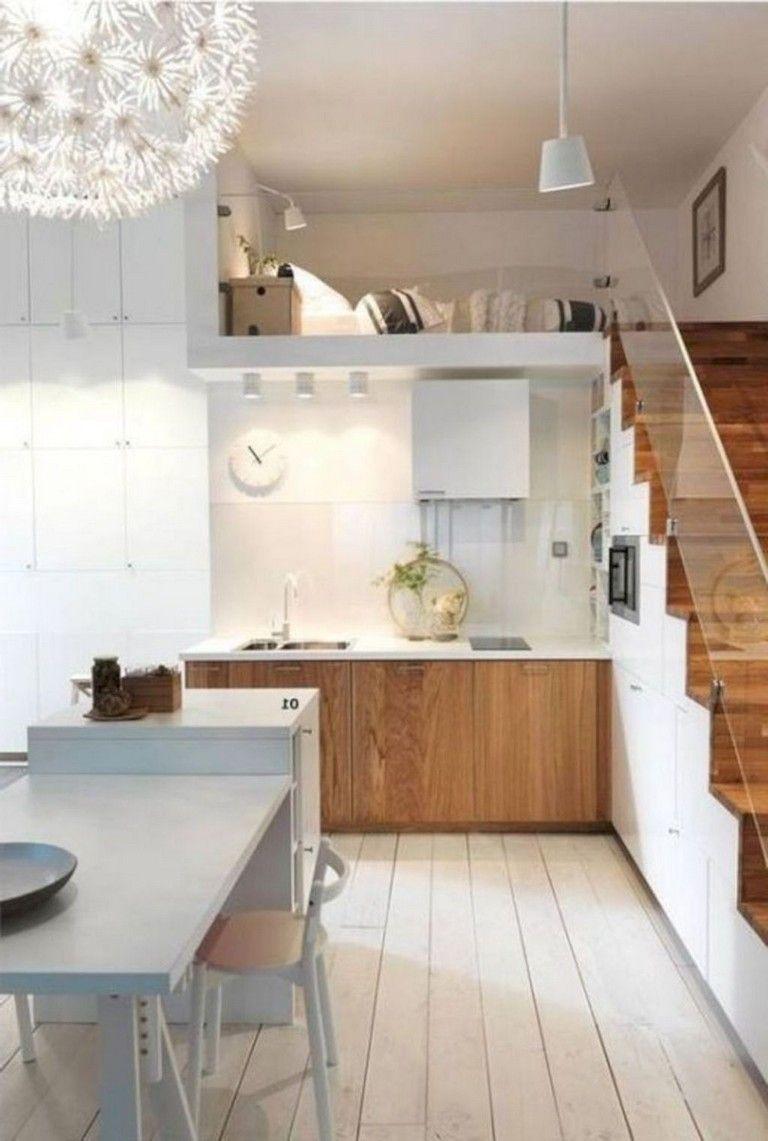 42 Stunning Minimalist Apartment Decor Ideas Loft Apartment Designs Small House Kitchen Design Small Loft Apartments