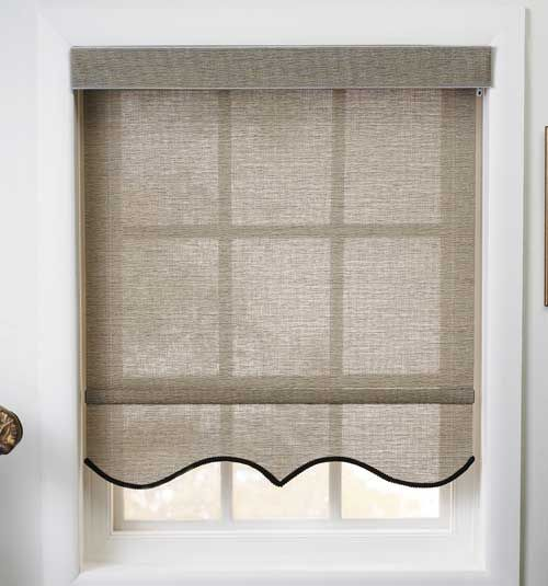 Decorative Hem Scallop Option Window Coverings Bedroom