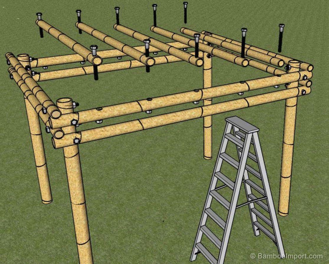 How to build a bamboo pergola en 2019 bamboo bamb p rgolas y muebles de bamb - Pergolas de bambu ...