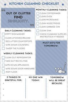 Kitchen Cleaning Routine  Cleaning Checklist Cleaning And Kitchens